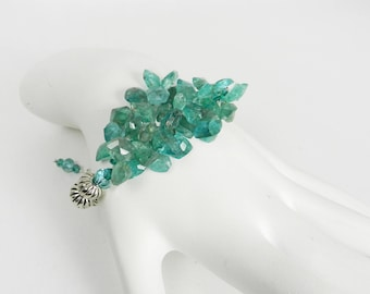 Apatite Gemstone Bracelet Unique Beaded Gems Boho Jewelry Silver Adjustable Bracelet