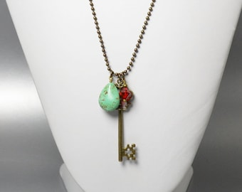 Long Gold Key Necklace Antique Gold Charm Necklace Long Gypsy Turquoise Necklace