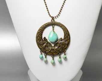 Long Gold Medallion Necklace Antique Gold Lotus Necklace Gypsy Necklace Turquoise Teardrop Charm Necklace