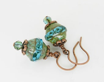 Aqua Green Earrings Green Patina Copper Earrings Gypsy Style Dangle Earrings Awesome