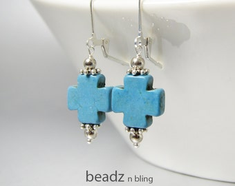 Turquoise Cross Earrings, Cross Jewelry, Denim Blue Stone Earrings, Simple Cross Earrings, Southwest Jewelry