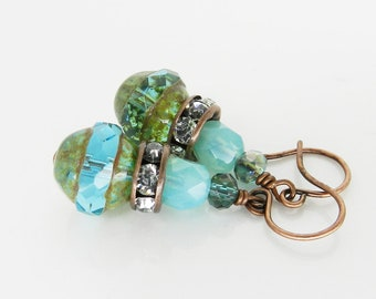 Aqua Green Earrings Gypsy Style Dangle Earrings Awesome Green Patina Copper Earrings