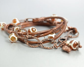 Brown Leather Wrap Bracelet Tribal Jewelry Bohemian Bracelet Giraffe Tibetan Dzi Beads Hippie Jewelry