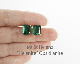 Vintage Emerald Cut Earrings In Gold Mt St Helens Green Obsidianite Helenite