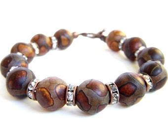 African Jewelry Brown Beaded Bracelet Toggle Clasp Giraffe Print Tibetan Dzi Beads