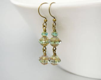 Long Green Earrings Gypsy Style Dangle Earrings in Green Patina and Aqua Drop Earrings