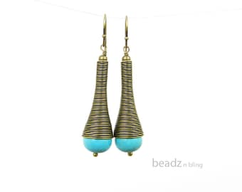 Long Turquoise Earrings Tribal Style African Jewelry Aqua Dangle Earrings