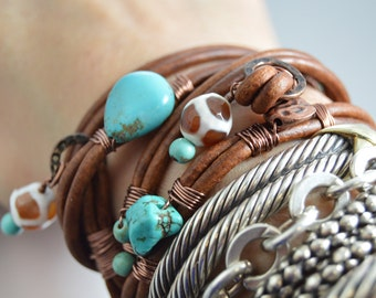 Brown Leather Wrap Bracelet Bohemian Turquoise Beaded Bracelet Hippie Jewelry Dzi Beads