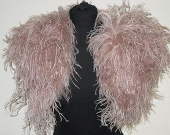 Vintage Blush - 1920's style OPULENT OSTRICH FEATHER  Wrap Shrug Bolero Cape - in Vintage Blush, Ivory or Black