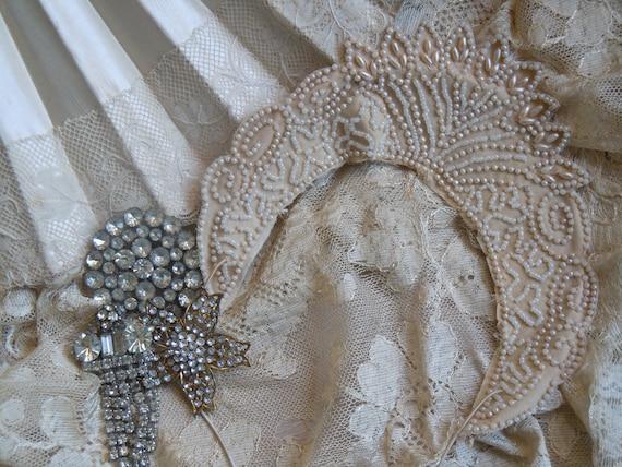 Beautiful 1920s Cream Seed Pearl Crown Headpiece