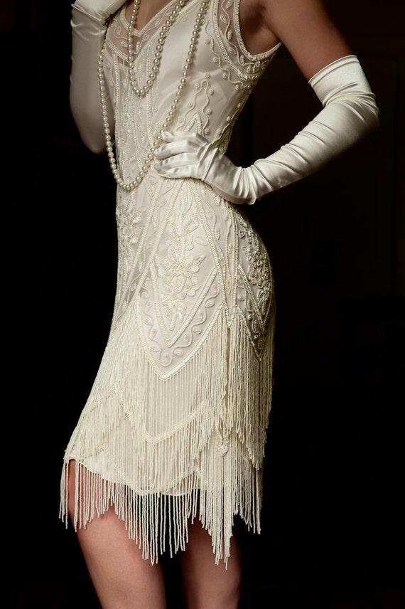 Elfenbein 1920 Perlen Deco Jahrgang Flapper 20er Jahre