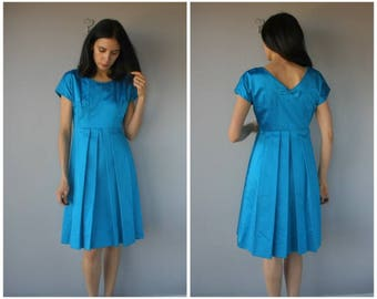 Vintage 1950s Party Dress • 50s Dress • 1950s Dress • 1950s Satin Dress • 50s Cocktail Dress - (small/medium)