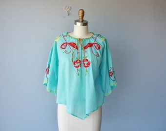1970s Vintage 70s Blouse | 1970s Embroidered Blouse | Hand Stitched Blouse | 70s Peasant Blouse