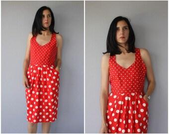 Vintage 1970s Dress   70s Dress   1980s Linen Dress   80s Dress   1970s Day Dress   Polka Dot Sun Dress - (medium/large)