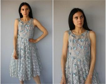 Vintage 1950s Dress • 50s Party Dress • 1950s Cocktail Dress • 1950s Formal Dress • 1950s Lace Dress • 50s Dress -(x-small)
