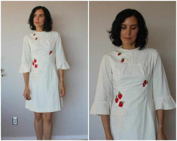 1960s Dress • 60s Strawberry Print Dress  • 1960s