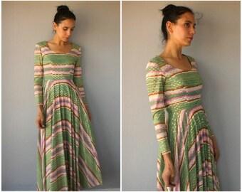 Vintage 1960s Maxi Dress • 60s Dress • 1960s Dress • 60s Maxi Dress • 1970s Maxi Dress • 70s Party Dress  -  (small)