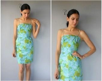 Vintage 1960s Mini Dress • 60s Dress • 1960s Dress • 1960s Day Dress • 60s Silk Party Dress  -  (xxs/x-small)