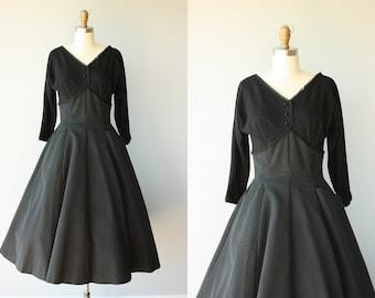 Vintage 50s Party Dress   1950s Dress   50s Wool Dress   50s Formal Dress   Black Party Dress   1950s Holiday Dress