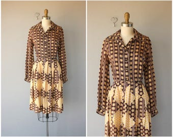 Vintage 1960s Party Dress   60s Dress   1960s Floral Print Dress   60s Party Dress   1960s Silk Shirtwaist Dress - (medium)