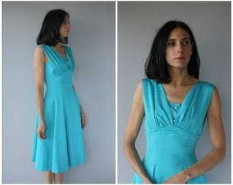 Vintage 1950s Party Dress   50s Dress   1950s Dress   1950s Turquoise Dress   Fit and Flare Dress - (small)