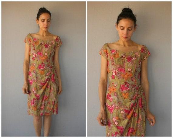 1950s Hawaiian Dress • 50s Sun Dress • 1950s Saron