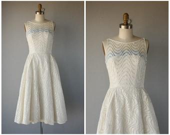 Vintage 50s Dress • 1950s Eyelet Dress • 1950s Wedding Dress • 1950s Broderie Anglaise Dress • 1950s Dress  - (xxs/x-small)