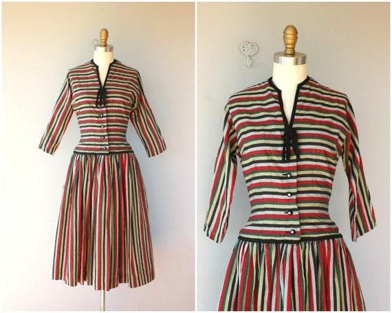 1950s Striped Party Dress | 50s  Dress | 1950s Dre