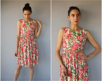 Vintage 60s Dress • 1960s Dress • 1960s Floral Dress •  50s Floral Dress • 60s Day Dress  • Floral Print Dress • 1950s Dress  - (x-small)