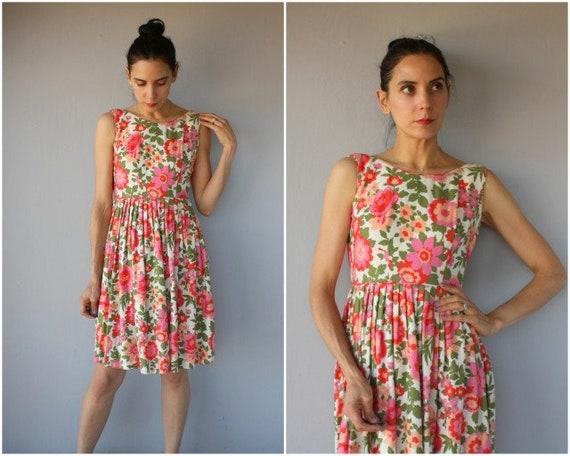 Vintage 60s Dress • 1960s Dress • 1960s Floral Dre