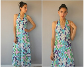 Vintage 1970s Maxi Dress • 70s Dress • 1970s Cat Print Dress • 70s Halter Dress • 70s Jersey Dress • Novelty Print Dress   - (small)