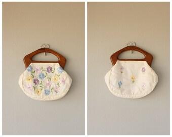 Embroidered Bag | 1970s Handbag | Floral Purse | Wooden Handle Purse | 70s Boho Bag