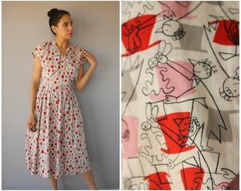 Vintage 1950s Novelty Print Dress • 50s Magician Print Dress • 50s Dress • 1950s Sun Dress • 1950s Cotton Dress • 1950s Dress Set - (medium)