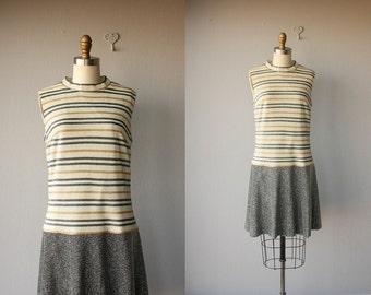 Vintage Mod Dress    1960s Dress   60s Dress   Striped 1960s Dress   Metallic Drop Waist Dress