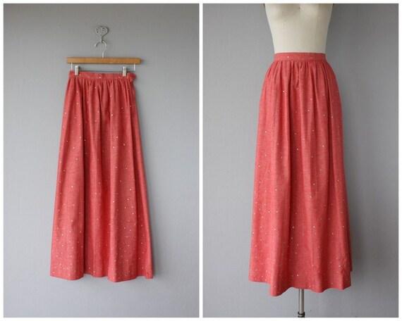 1970s Maxi Skirt | Vintage Chambray Skirt | Chambr