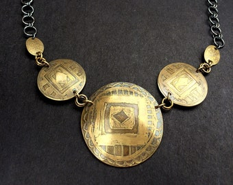 Bold Brass Mandala Necklace with Handmade Sterling Silver Chain