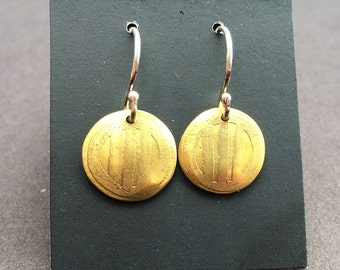 Striped Etched Brass Earrings
