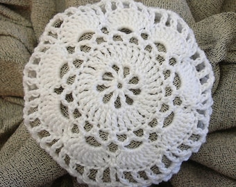Hair Net / Bun Cover Crocheted White Flower Style Amish Mennonite