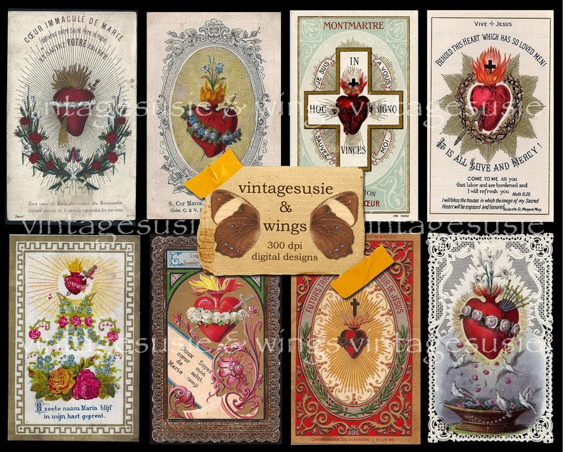 16 Vintage HEART HOLY Card Images 2 Pages Collage Sheet Digital Download Spiritual Religious Junk Journal