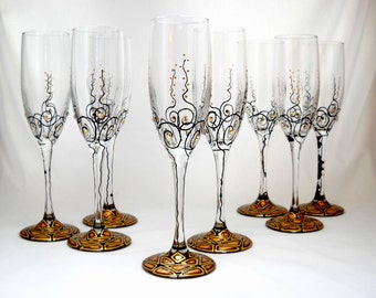 Champagne Glasses Toasting Flutes Hand Painted Glassware Gold Black Glasses Personalized Flutes ~ Pair