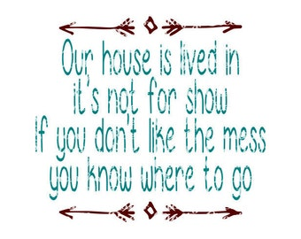 SVG PNG DFX - Our House is lived it, it's not for show. If you dont like the mess -Digital Cut Files for Cricut, Silhouette & other machines