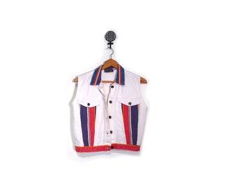 Vintage 90s In Living Color Sleeveless White Denim Jacket women s m deadstock new PRIORITY hip hop hipster striped denim vest cardi b bruno