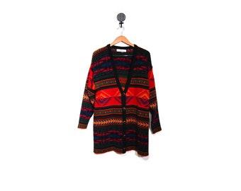 Vintage 90s Kathryn Deene Oversized Long Slouchy Button Up IKAT Southwestern Tribal Print Cardigan Sweater women l xl 1X plus size preppy