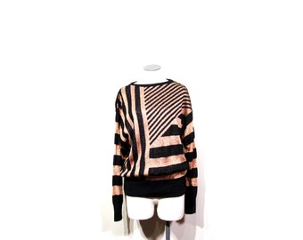 Vintage 70s 80s Disco Queen Stripped Glittery Black & Copper Knit Sweater women s-m indie hipster retro preppy glam holiday winter