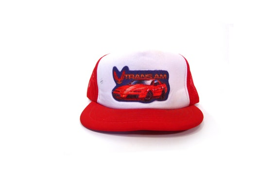 Vintage 80s Red   White TRANS AM Iron On Embroidered Decal Mesh Snapback  Trucker Hat Baseball Hat General Lee Dukes of Hazzard Hat hipster 442e4d583ea
