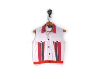 Vintage 90s In Living Color Sleeveless White Denim Jacket women s m deadstock red PRIORITY hip hop hipster striped denim vest cardi b bruno