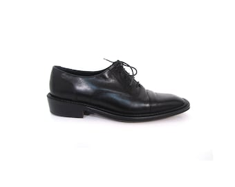 Vintage 80s Black Italian Leather Joan and David Classic Oxfords 7