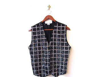 Vintage 80s Black and Silver Sequined and Beaded Glam Vest s m