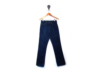 Vintage 80s Dark Wash Navy Blue LEE Riders Denim High Waist Jeans women  men xs s 31 x 34 straight leg hipster minimalist USA Riders cowboy