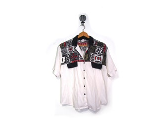 Vintage 80s Unisex White Button Up Collar Shirt W Tribal Ethnic Print women m l men s m retro indie hip hop made in usa wakanda india africa